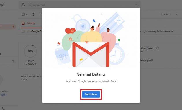 Tampilan Awal Gmail