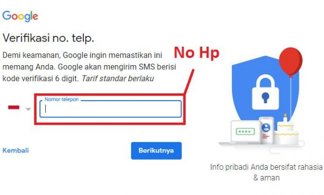 Form Nomor Hp Gmail