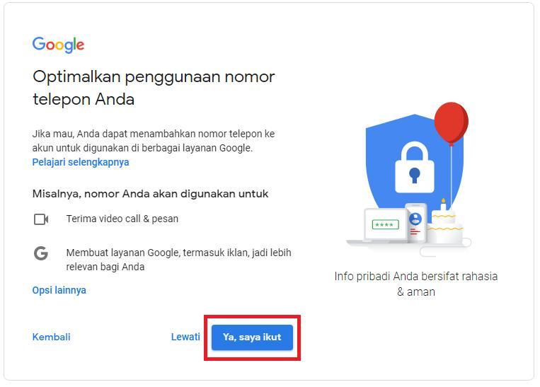 Konfirmasi Gmail