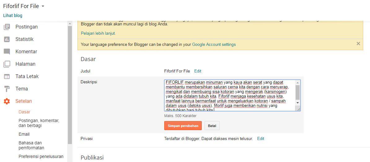 Deskripsi Blogger
