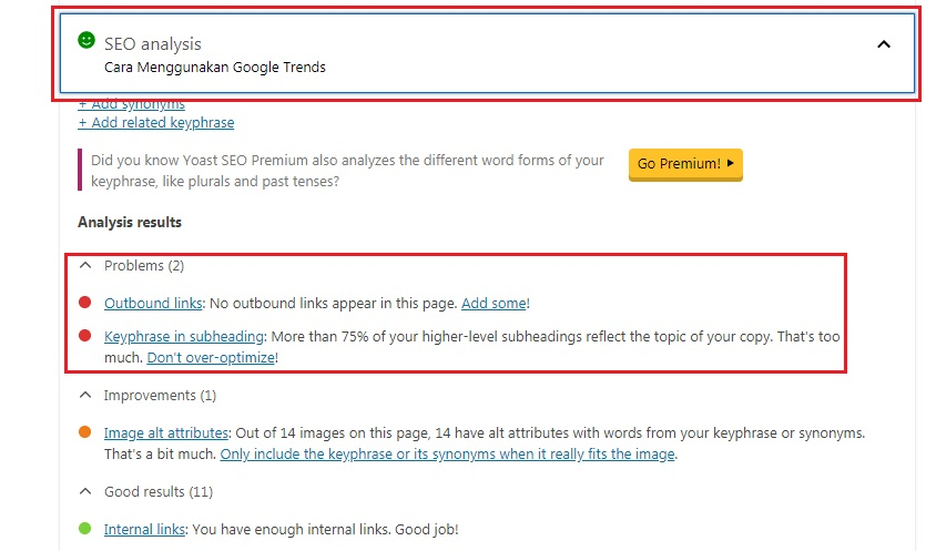 SEO Analysis WordPress