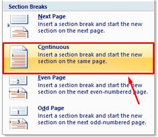 Continuous Section Break di Microsoft Word