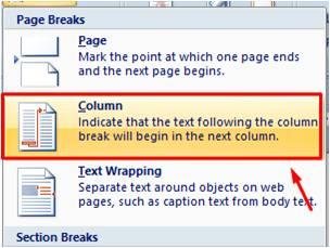 Colum Breaks di Microsoft Word