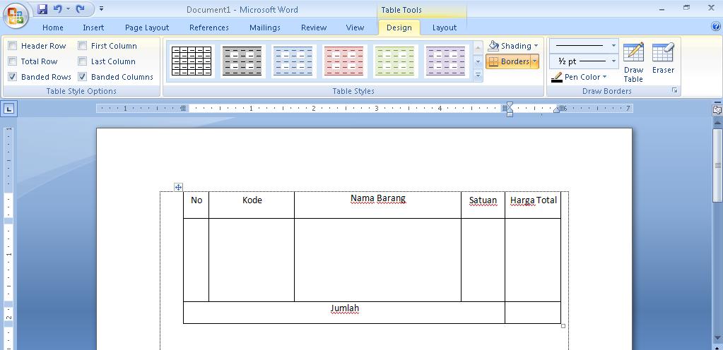cara membuat tabel di microsoft word 2007