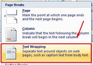 Text Wrapping Break di Microsoft Word