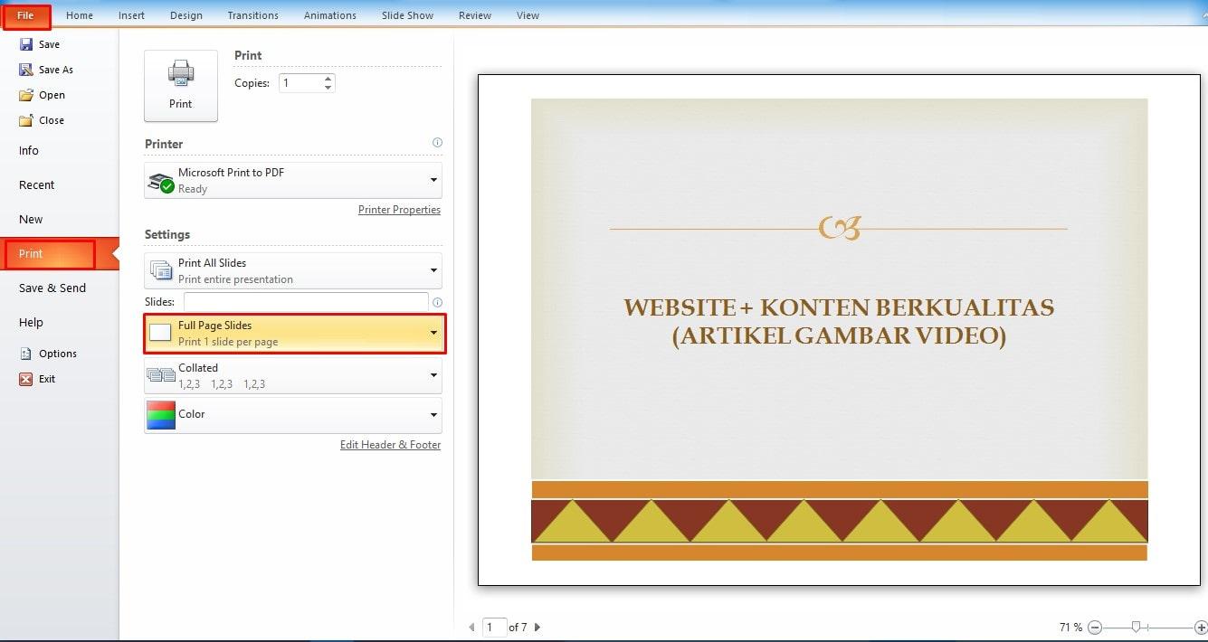 Cara Print PowerPoint Satu Lembar Menjadi beberapa Slide