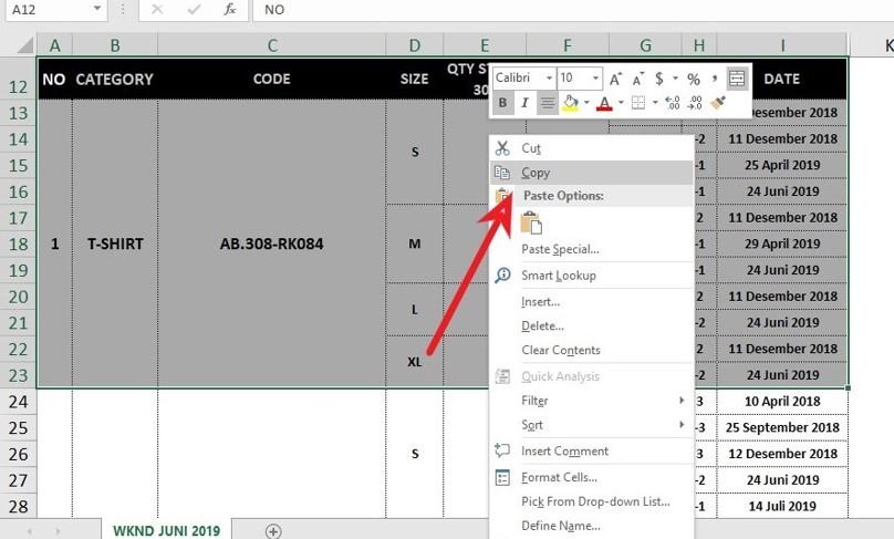 Copy Dokumen Table Pada Excel