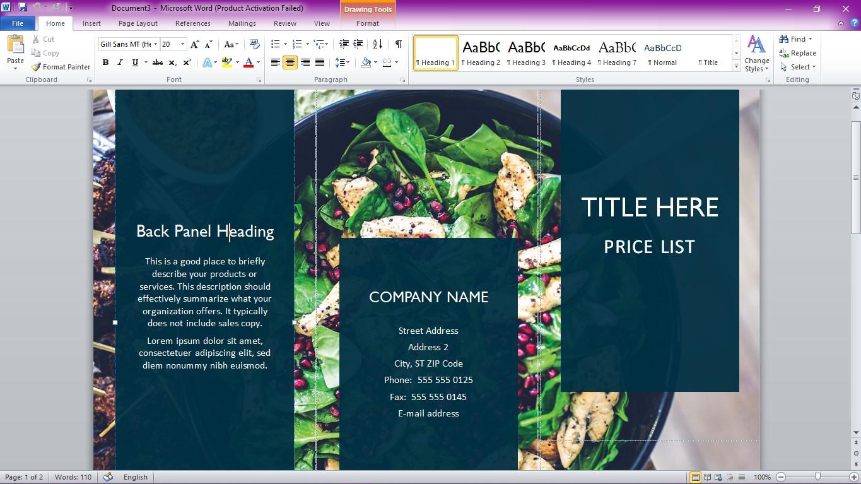 Edit Template Brosur di Word