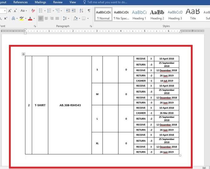 Hasil Copy Paste Table dari Word