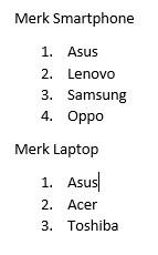 Hasil Dari Merubah List