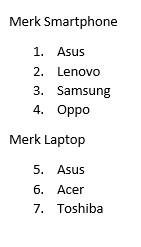 Hasil Penomoran di List