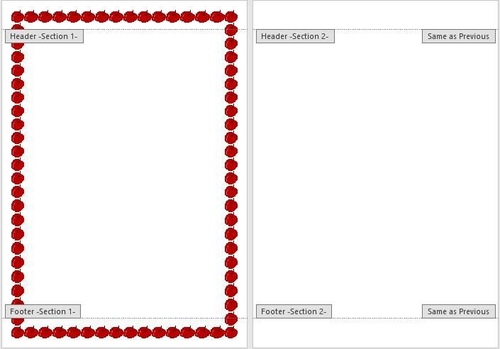 Hasil dari Pembuatan Page Border yang Berbeda pada Dokumen yang Sama