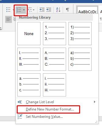 Merubah Format Numbering