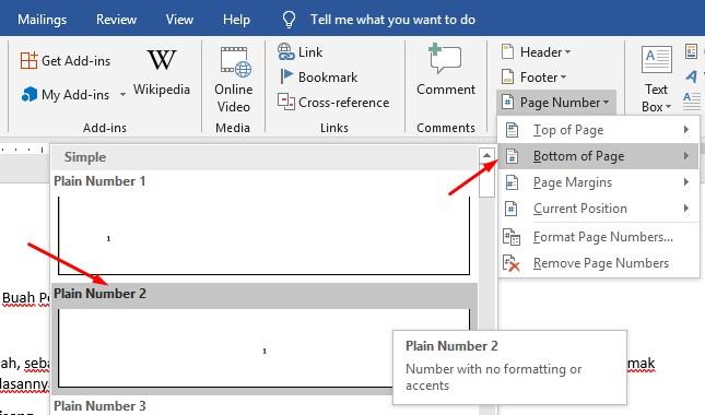 cara memberikan halaman di word