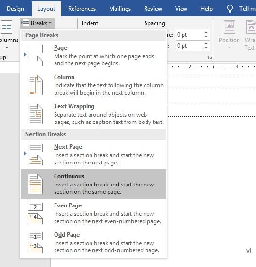 Membuat Nomor Halaman yang Berbeda Dalam Satu Dokumen