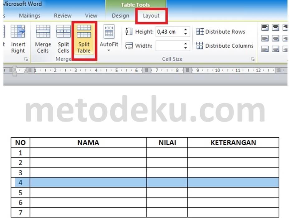 Memisahkan Tabel (Split Table) di Word