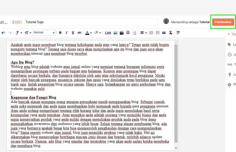 Publish Buatan Blogger