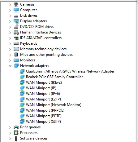 uninstall driver wifi di device manager