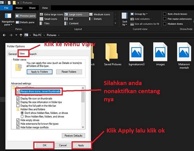Cara Menampilkan Foto thumbnail windows 10