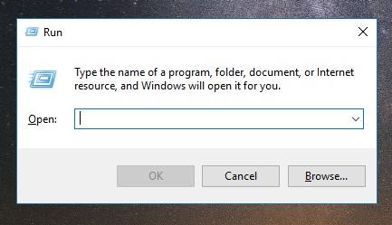 Tombol Windows + R pada laptop