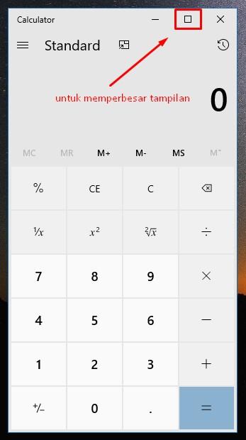 tampilan kalkulator pada laptop