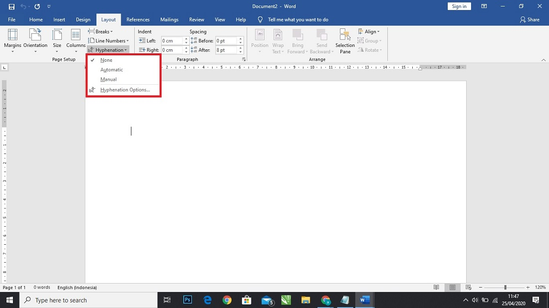 Fungsi Hyphenation Di Ms Word