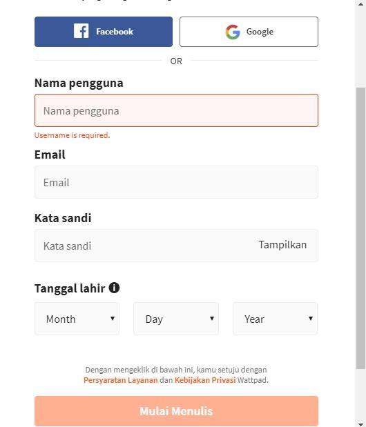 Langkah Mendaftar Wattpad