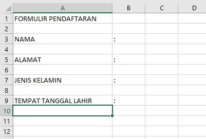 Membuat Formulir Pendaftaran di Excel