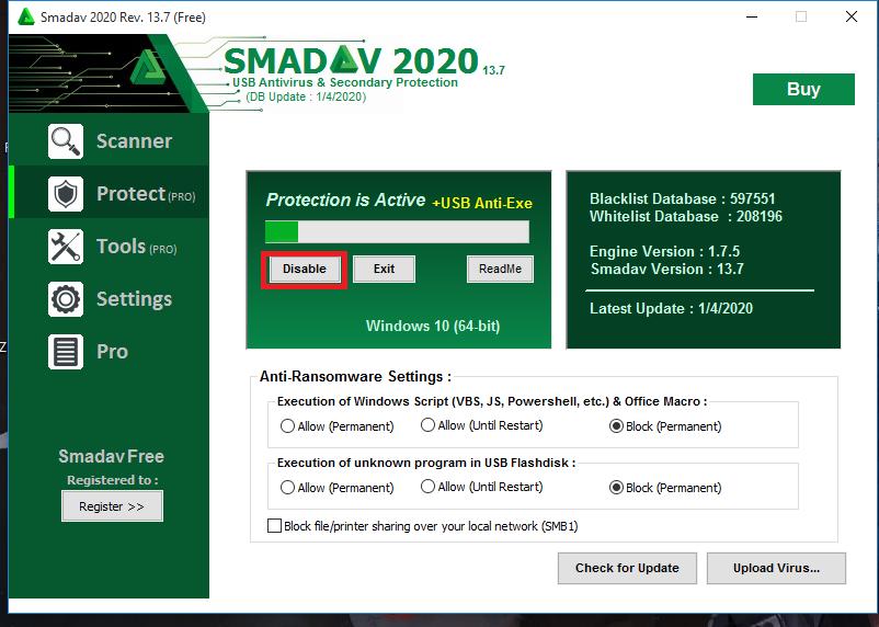 Nonaktifkan Smadav Antivirus