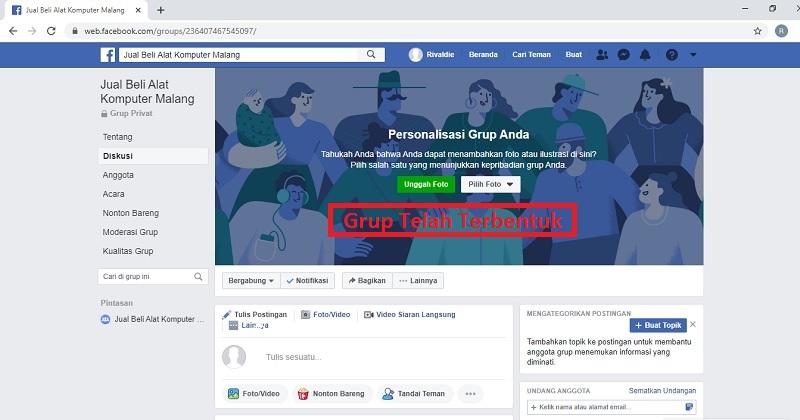 Tampilan Grup Facebook