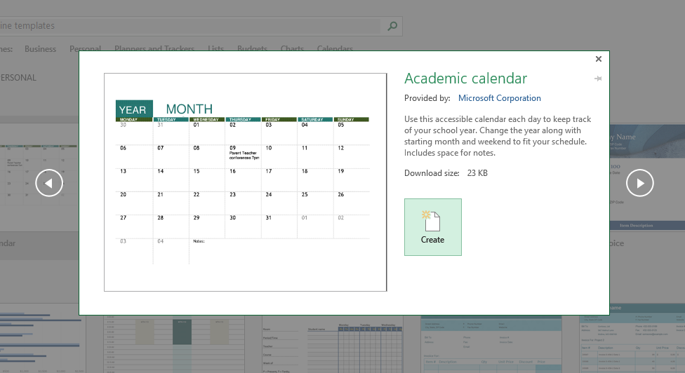 template Academic Calender