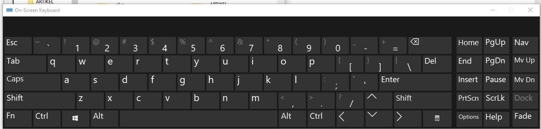 tampilan on screen keyboard