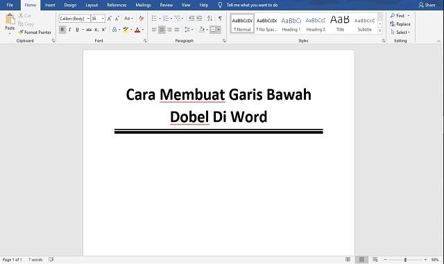 Cara Membuat Garis Bawah Dobel Di Word