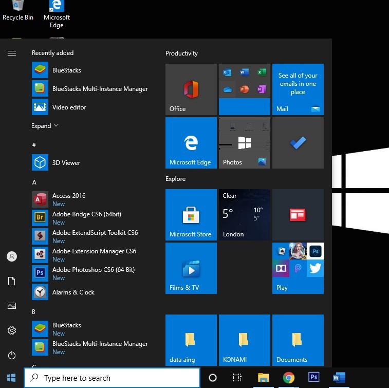 klik logo windows