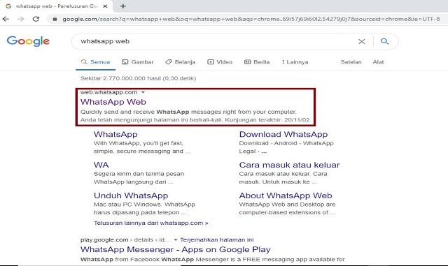 memilih whatsapp web di browser