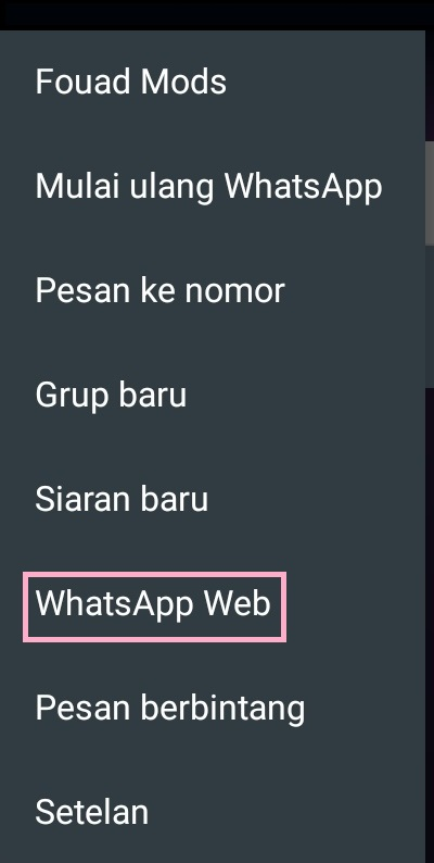 memilih whatsapp web di handphone