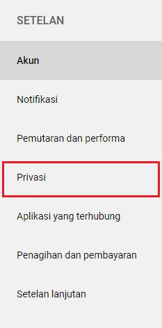 Pengaturan Privasi