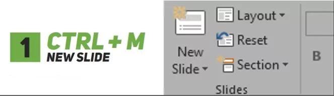 Ctrl+M Membuat Slide Baru