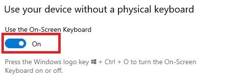 Aktifkan On-Screen Keyboard