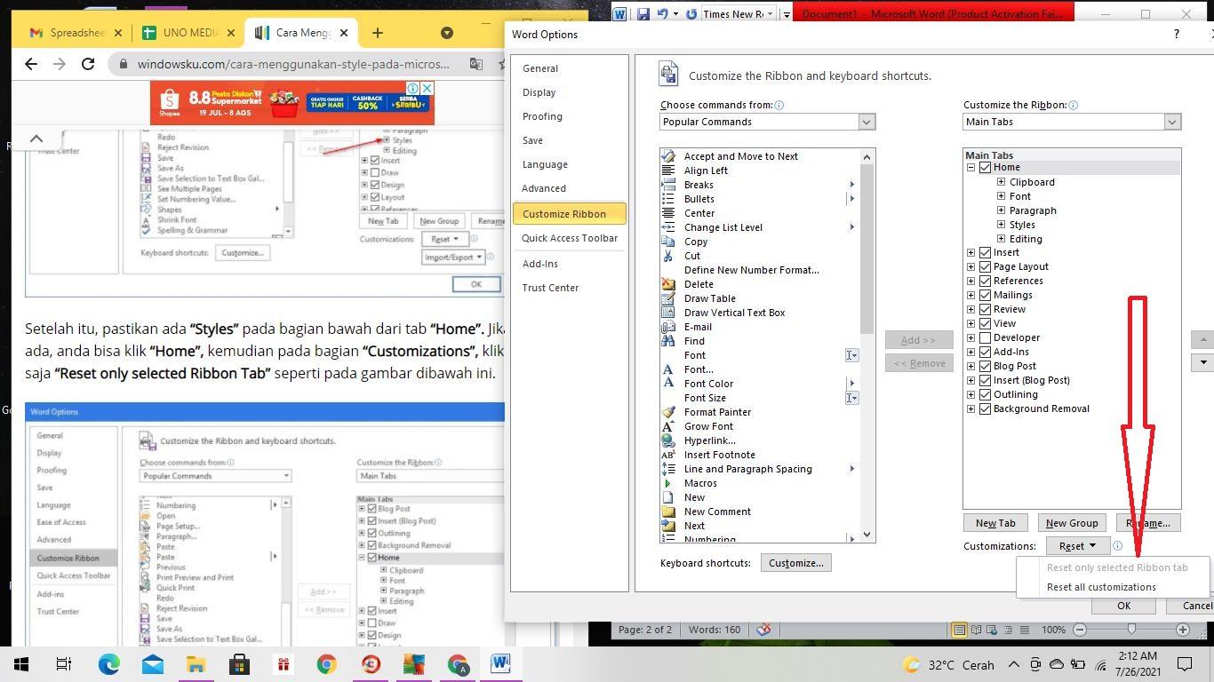 Cara Setting Style di MicrosoftWord