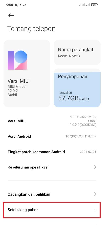 Reset Android versi Xiaomi MIUI 12