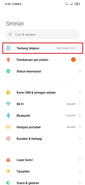 Reset Android versi Xiaomi